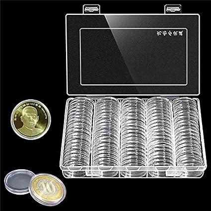 100pcs 30 mm Ronda moneda Caso plástico caja de colección de ...