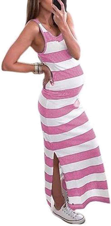 maxi abito lungo lungo stampa a righe sexy FIYOTE Vestito da donna premaman girocollo aderente con spacco laterale