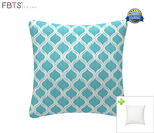 Indoor/Outdoor Throw Pillow with Insert 18x18 Inches Decorative Square Blue Cushion Covers Pillow Sham for Couch Bed Sofa Patio Furniture by FBTS Prime (Furniture Patio Bed)