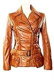 Ladies Designer Retro Feminine Tan Leather Long Biker Jacket 8