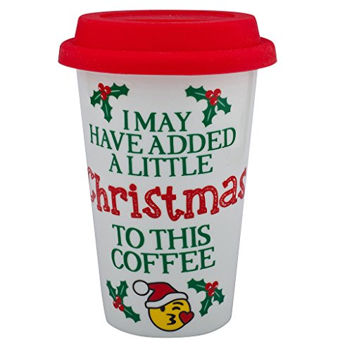 Lux Accessories Happy Holidays Christmas Sippy Hot Coffee Drink Cold 8OZ Cup Santa Mistletoe (Mistletoe Emoji)