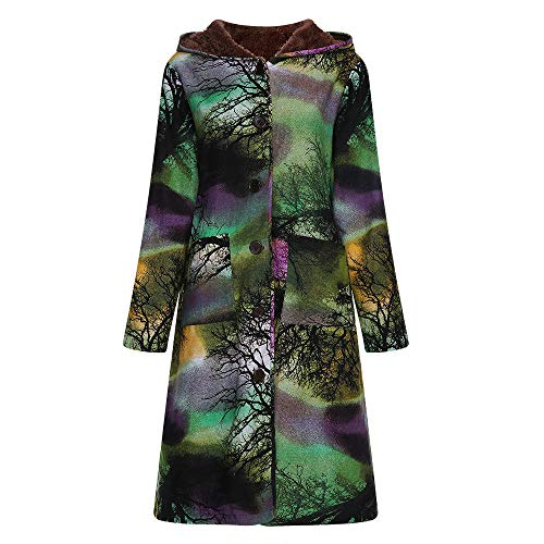 Caopixx Women Outwear Winter Jacket Warm Vintage Plaid Floral Print Thicken Lamb Wool Hooded Coats Overcoat