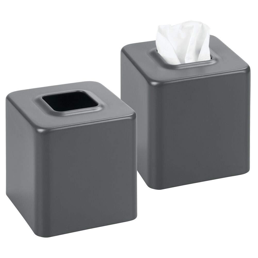 Night Stand Slate//Gray Countertop Rectangular Holder for Storage on Bathroom Vanity mDesign Modern Metal Tissue Box Cover for Disposable Paper Facial Tissues Bedroom Dresser Table Desk 3 Pack