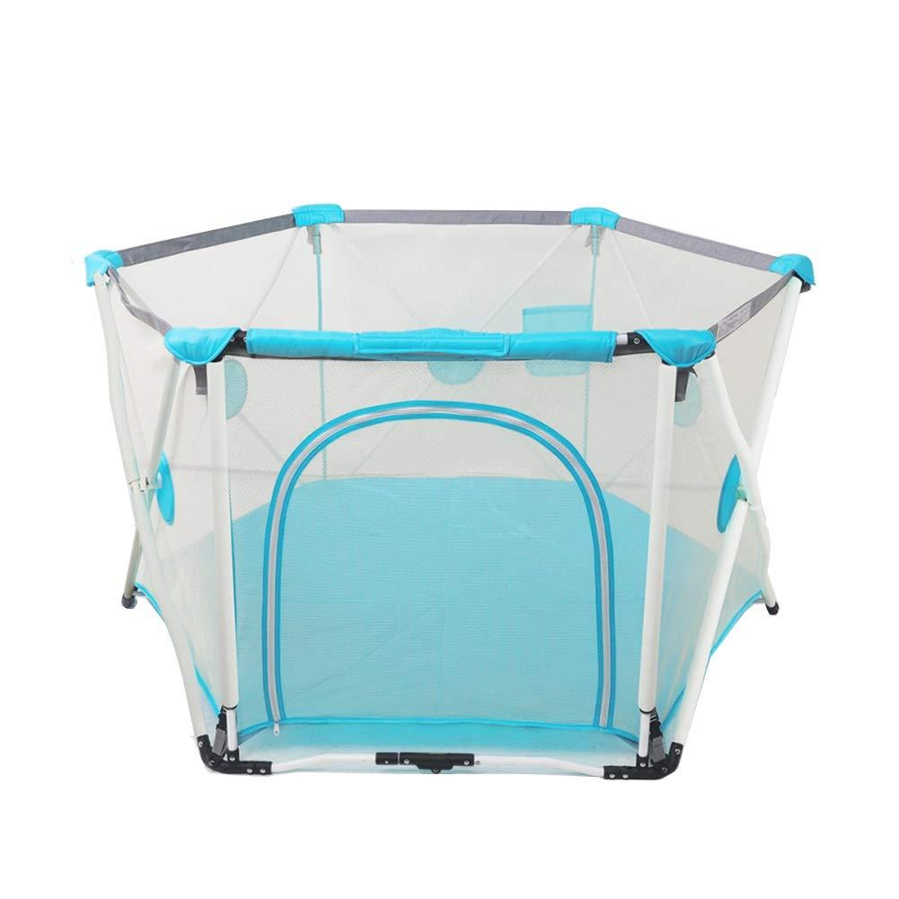 赤ちゃんゲームフェンス、子供クロール幼児フェンス、室内遊び場安全保護プレイヤー82.5×150cm (色 : 青)  青 B07KTJJ7ZK