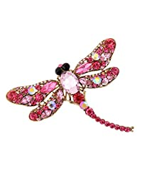 Fashion Rhinestone Dragonfly Crystal Wedding Bridal Alloy Pin Brooch Pink