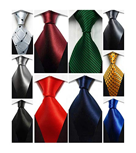 (Wehug Lot 10 PCS Classic Men's tie 100% Silk Tie Woven Jacquard Neckties Solid Ties for men)