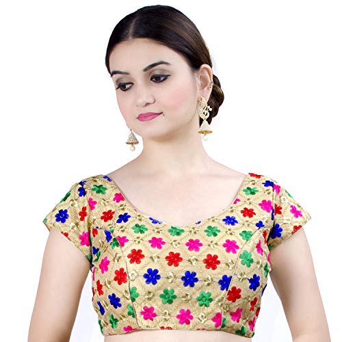 (Chandrakala Women's Designer Bollywood Readymade MultiGold Indian Ethnic Saree Blouse Padded Brocade Choli-Small (B126MUL2))