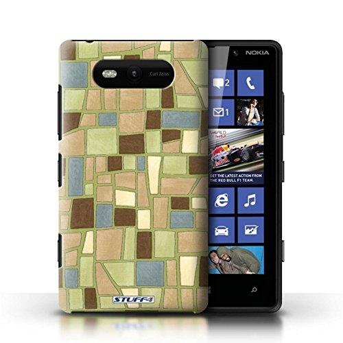 Etui / Coque pour Nokia Lumia 820 / Vert/Brun conception / Collection de Carrelage Mosaïque