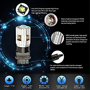 Partsam 2x 3157 T25 3156 3056 3057 White Cree LED Canbus Backup Reverse light 6000K High Power 25W 750lm Per Bulb Genuine Car Led Bulb Lamps