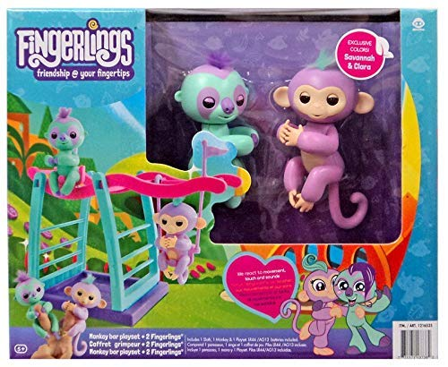 WowWee Fingerlings Playset - Monkey bar/Swing Playground with One Monkey & One Sloth - Savannah (Light Purple) & Clara (Turquoise)