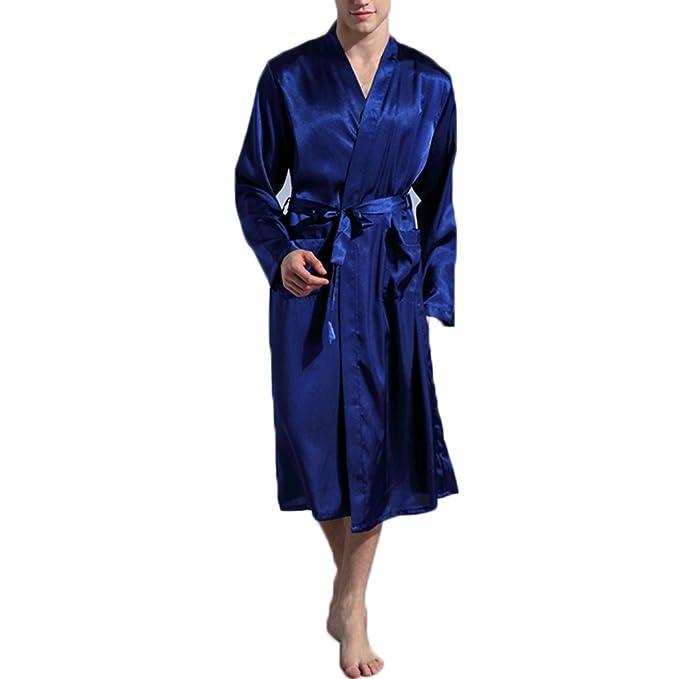 FY Hombre Unisex Kimono Albornoz Larga Robe Bathrobe Bata De Baño Seda De Imitación Camiseta Vestido Ropa de Dormir Dressing Gown Sleepwear Spa Sauna Fiesta ...