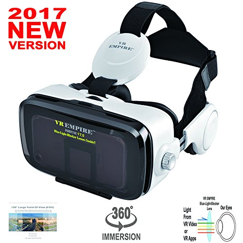3D Glasses Virtual Reality Headset VR Goggles for 3D Video Movies Games for iPhone Samsung HTC Sony All Smartphones Screen Size Between 4.0-6.2 inch with Anti-Blue-Light Lenses; 120 degree FOV
