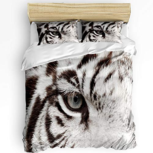 - Ferocious Tiger 3 Piece Bedding Set Comforter Cover Queen Size, Close Up of White Bengal Tiger Eye, 3 pcs Duvet Cover Set Bedspread Daybed with Zipper Closure for Childrens/Kids/Teens/Adults
