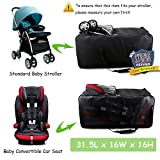 Cherrboll Stroller Travel Bag with wheels - Thick Foldable Storage Bag for Standard Strollers, Baby Car Seats - Large Rolling Duffel with Premium Oxford, Padded Shoulder Strap