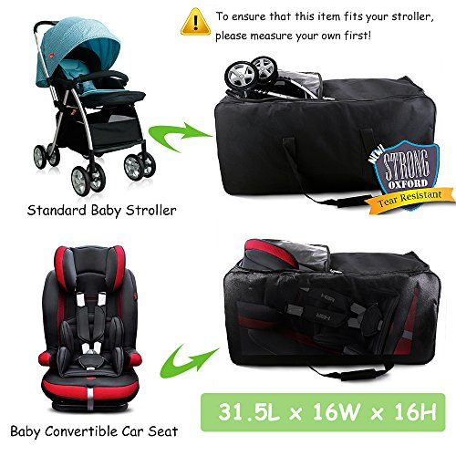 cherrboll Stroller Car Seat Travel Bag with Wheels - Gate Check Cover for Standard Strollers Baby Carseat Infant Booster - Large Rolling Duffel for Airplane Train, Hands Free by cherrboll (Image #1)