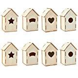 Unfinished Wood Birdhouse - 8-Pack Mini Wooden DIY Birdhouses for Craft Project, Home Decoration, 4 Designs, 3.8 x 7 x 3.8 inches