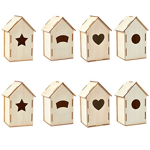 Unfinished Wood Birdhouse - 8-Pack Mini Wooden DIY Birdhouses for Craft Project, Home Decoration, 4 Designs, 3.8 x 7 x 3.8 inches by Juvale