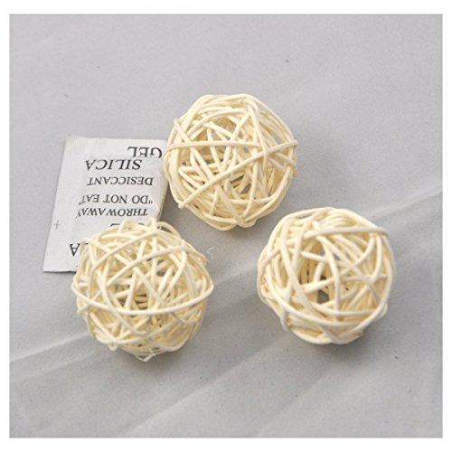Rattan Ball (10pcs Wicker Rattan Balls Table Wedding Party Christmas Decorative (Diameter 6cm, White))