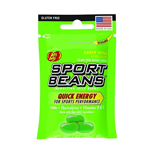 Jelly Belly Sport Beans, Energizing Jelly Beans, Green Apple Flavor, 24 Pack, 1-oz Each