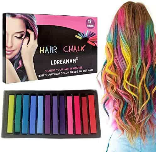 Hair Chalk,Hair Chalk Pens,Temporary Hair Chalk-Washable Hair Color Safe For Kids And Teen - For Party,Girls Gift,Kids Toy,Birthday Christmas Gifts For Girls,12 Bright Colors