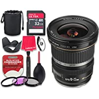 Canon EF-S 10–22mm f/3.5–4.5 USM Lens with 32GB Ultra Pro Speed Class 10 SDHC Memory Card + 3pc Filter Kit (UV-FLD-CPL) + Deluxe Sleeve + Celltime Microfiber Cleaning Cloth - International Version