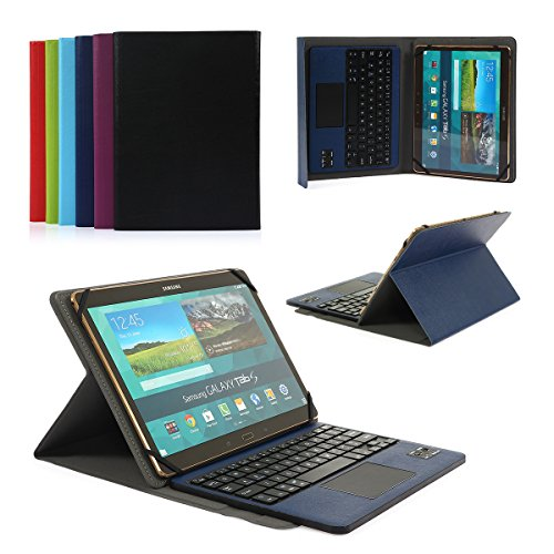 CoastaCloud Pu Leather Folio Bluetooth Keyboard Case Cover for Samsung Galaxy Note 10.1 Tablet N8010/N8000 (2012) and Tab A 9.7 T555C/T550 with QWERTY Layout Removable Keyboard and Touchpad Dark Blue