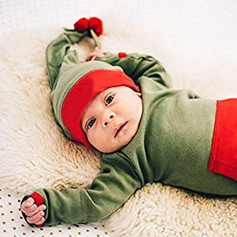 Pudcoco Baby Boys Girls Long Sleeve Christmas Footies Romper Jumpsuit with Hairball Hat