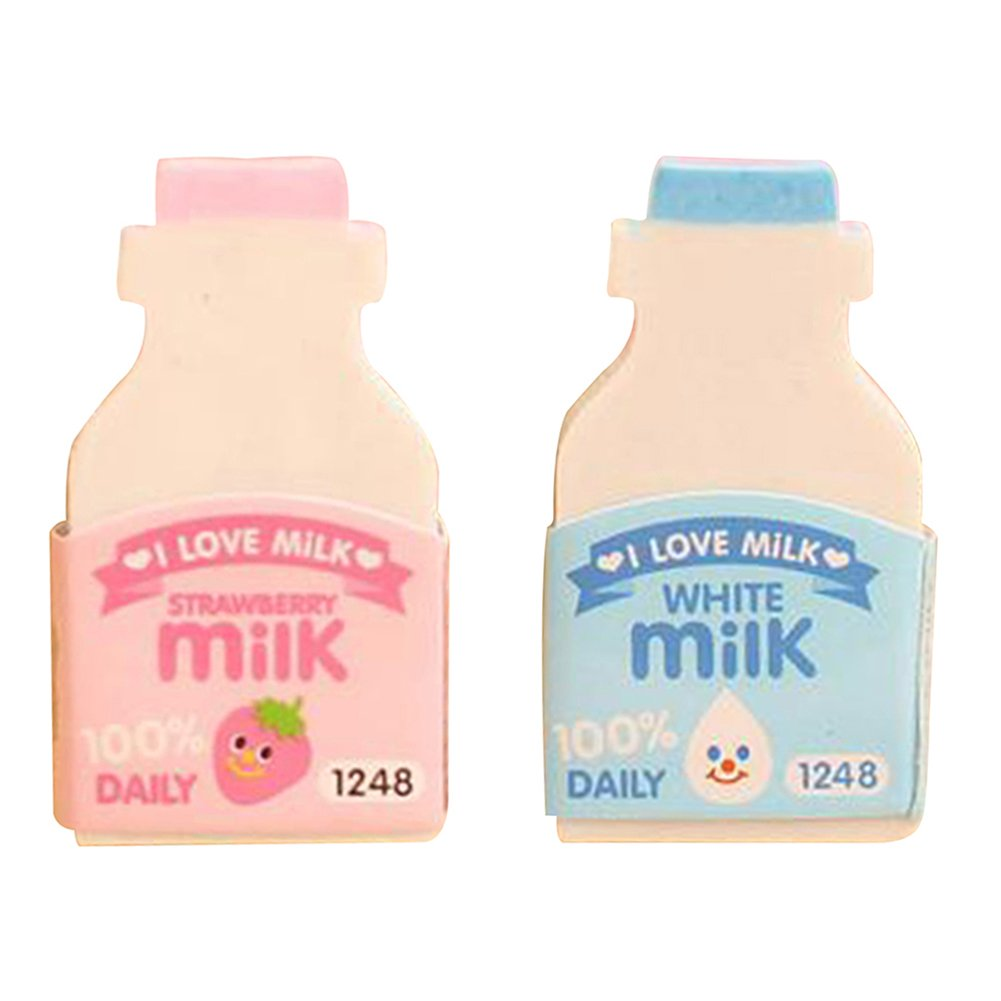 Random Color 2Pcs Random Color Cute Milk Bottle Style Eraser Office School Stationery Gift zsjhtc