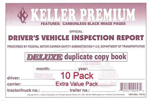 (J. J. Keller 115B Detailed Drivers Vehicle Inspection Report, 2-Ply, Carbonless - Pack of 10)
