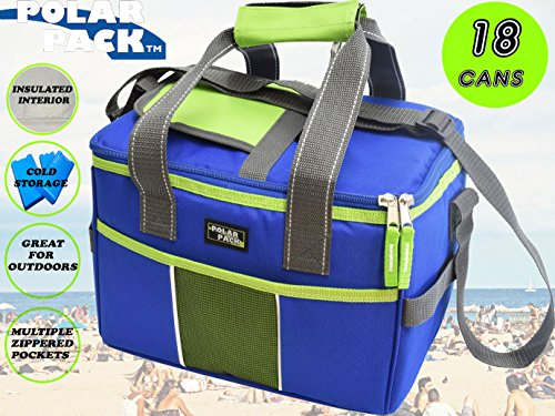 e3fc2add8020 POLAR PACK 18 Can Double Handle Square Box Collapsible Cooler Bag Soft  Portable Insulated Picnic Bag Outdoor Indoor Travel Lunch Bag for Camping,  ...