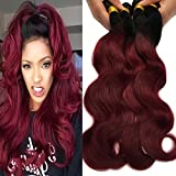 "Black Rose Hair Body Wave Brazilian Ombre Human Virgin Remy Hair Bundles Extension Color 1b/99j Burgundy Hair Weaves (Pack of 4,10""+12""+14""+16"")"