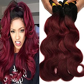 Amazon Com Black Rose Hair Body Wave Brazilian Ombre Human Virgin