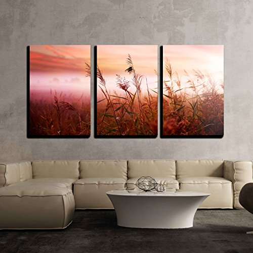 wall26 - 3 Piece Canvas Wall Art - Foggy Landscape.Early Morning Mist. - Modern Home Decor Stretched and Framed Ready to Hang - 16