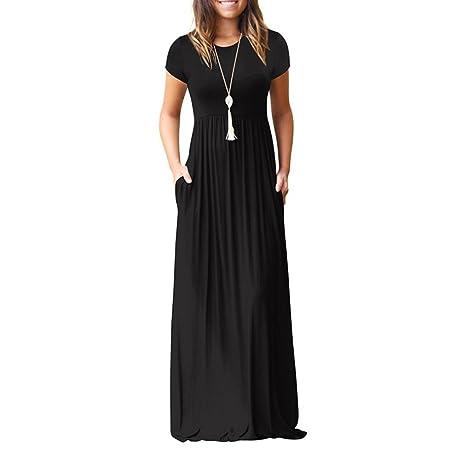 8f6b5f0a9b2 Robe Longue à Manches Courtes De Poche Rawdah Femmes O Cou Casual Poches  Manches Courtes Robe