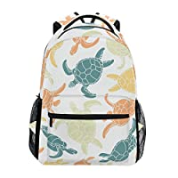 U LIFE Backpack School Bags Laptop Casual Bag for Boys Girls Kids Men Women Ocean Sea Beach Cute Turtle Tortoise