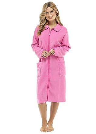 Ladies/Womens Polar Fleece Zip Front Dressing Gown Bathrobe ...