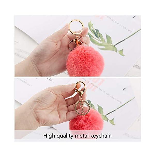 Auihiay 18 Pieces Pom Poms Keychains Fluffy Pompoms Keychain Faux Rabbit Fur Pompoms Keyring