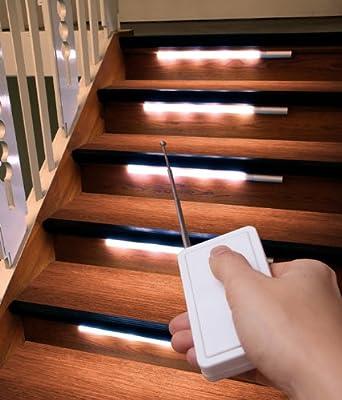 8er Set de luces LED para la iluminación de escaleras de luz de + mando a distancia para luz de escaleras: Amazon.es: Iluminación