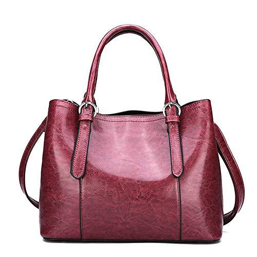 rouge sac grande femme vin huile femme en à Wangkk main brun sauvage bandoulière cuir capacité à pour à Sac wBOqUA