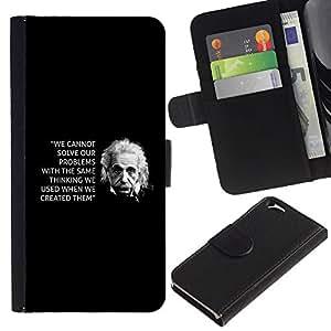 A-type (Einstein Black Inspiring Quote Science) Colorida Impresión Funda Cuero Monedero Caja Bolsa Cubierta Caja Piel Card Slots Para Apple Apple (4.7 inches!!!) iPhone 6 / 6S