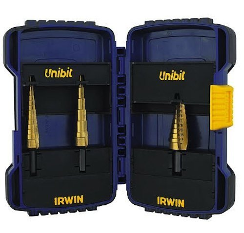 (Irwin Industrial Tools 15502 Unibit 502T Titanium Nitride Coated Step Drill Bit Set with Nylon Pouch, 3-Piece by Irwin Tools)