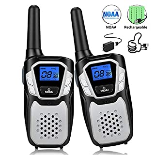Topsung Walkie Talkies Rechargeable, Long Range Two-Way Radios Up to 5 Miles in Open Fields 22 Channels FRS/GMRS VOX NOAA UHF Handheld Walky Talky for Adults for Camping Hiking Trip (Sliver 2 Pack)