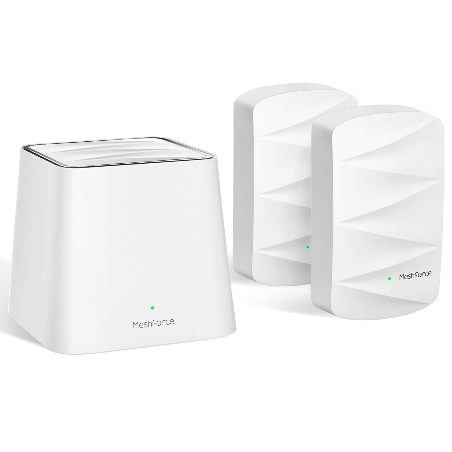 MeshForce Whole Home Mesh WiFi System M3 Suite (1 WiFi Point + 2 WiFi Dot) - Dual Band WiFi System Router Replacement and Wall Plug Extender - High Performance Wireless Coverage for 5+ Bedrooms Home by Meshforce