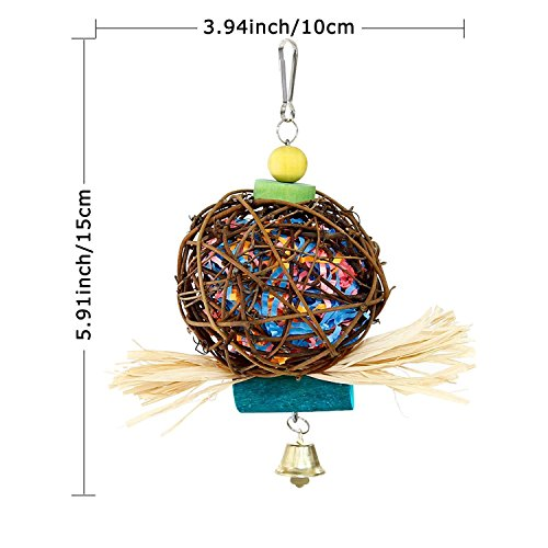 MAIYUAN Bird Chewing Toys for Parrots Natural Rattan Ball Cage Toy Preening Toy for Bird Parrot African Greys Budgie Cockatiel Parakeet Lovebird Cage Toy