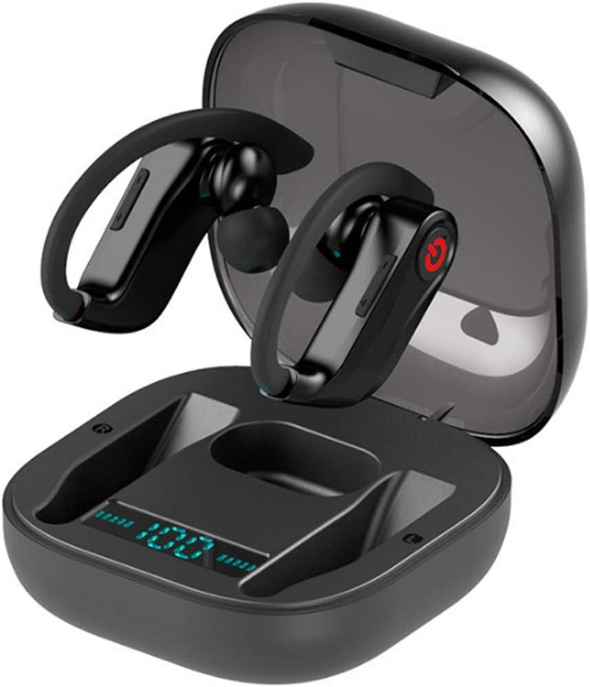 JCSW Auriculares Bluetooth, Auriculares Inalambricos en la Oreja, Deportivos Auriculares Bluetooth 5.0 Impermeable, Control Táctil, con Caja de Carga Portátil para iPhone y Android. Negro, HUN032UNH