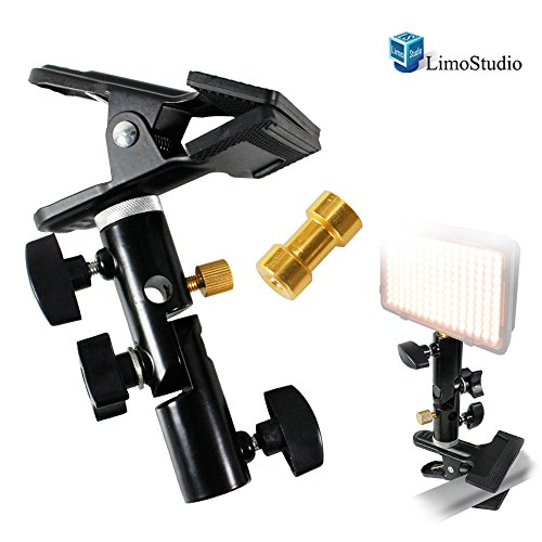 (LimoStudio Clamp Clip Holder Light Stand Mount Bracket with Umbrella Reflector Holder & Female Screw Adapter Thread Brass Photography Studio,)