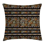 Ambesonne African Throw Pillow Cushion Cover by, Hand Drawn African Ethnic Pattern in Grunge Style Striped Design Print, Decorative Square Accent Pillow Case, 20 X 20 Inches, Pale Orange Gold Black