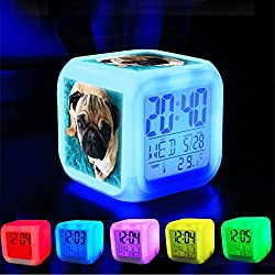 Alarm Clock 7 LED Color Changing Wake Up Bedroom with Data and Temperature Display (Changable Color) Customize the pattern-367.Potato the Pug, Pugtaters, chillin' not like a villain but…