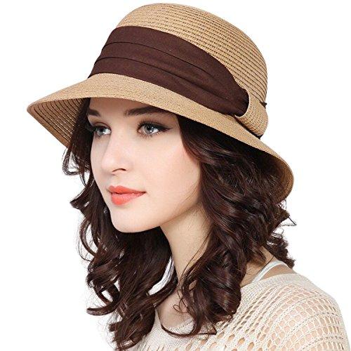 Lanzom Women Wide Brim Straw Foldable Roll up Cap Fedora Beach Sun Hat UPF50+ (Khaki)