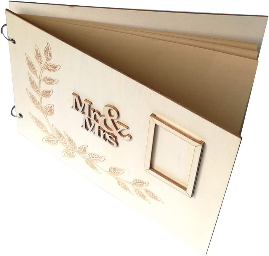 Weehey Handmade Mr /& Mrs Love Wedding Guest Book Wooden DIY Signature Sign-in Book with Ribbon Decoration Bridal Engagement Present